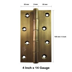 Atlantic Door Butt Hinges 4 Inch x 14 Gauge/2 mm Thickness (Stainless Steel, Antique Finish)