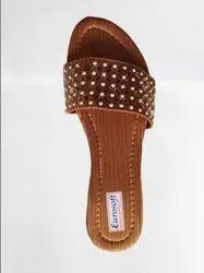 Casual Wear Printed Women's Slippers Golden