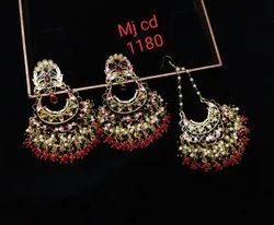 Meenakari Earrings with tika