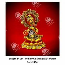 Golden Lord Krishna God Statue