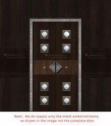 White Metal Traditional Pooja Room Door