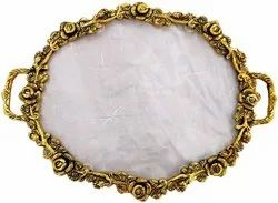 Metal Gold Plated Oval Fiber Serving Tray For Home, Office & Corporate Gift