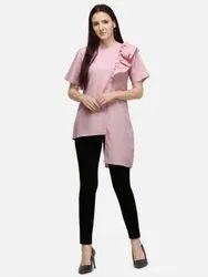 Fancy Designer Ruffle Round Neck Linen Blend Top