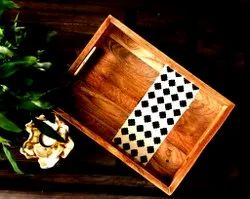 Inlay Wooden Serving Trays, Shape: Rectangle, Size: 14*9*1.5 Inch