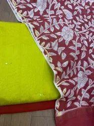 Soft Silk Cotton Mirror Work Top With Handloom Net Kota Printed Dupatta And Cotton Silk Bottom