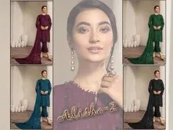 Machine High Level Designer Georgette Pakistani Suit With Heavy Embroidered Work