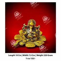Polished Metal Kala Ganesh ji God Statue