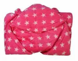 Pink Printed Baby Towel, 0-3 Years
