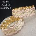 Golden With Purple Brass Antique Bangles