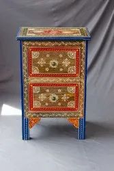 Wooden Bedside Table Painted Multicolour
