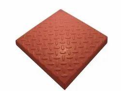Ceramic Matt Red Chequered Tile, For Flooring, Thickness: 6 mm
