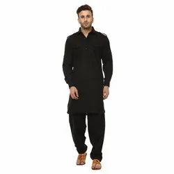 Plain Sheen Creations Cotton Blend Black Pathani Suit With Side Bands