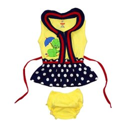 Girls Sleeveless Printed Frock With Panty Set