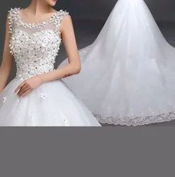 Gownlink Christians Wedding Catholic Gowns White Wedding Frock Qth58 Train Dress