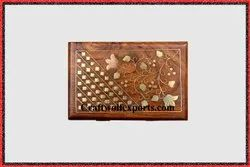 Natural Junglewood Copper Lotus Brass Box, For Home, Size: 15.1x10.3x6 Cm