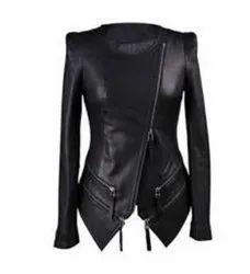 Full Sleeve Black Classic Zipper Leather Jacket Women'S