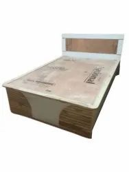 Light Brown Glossy Wooden Single Bed