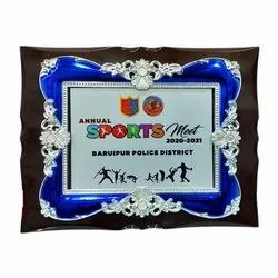 Wooden Plaque With Silver Blue Frame