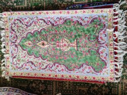 Kashmiri Silk Prayer Mat With Hand Aari Embroidery