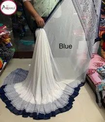 Aarnali Printed White Poonam Saree, With Blouse Piece, 5.5 M ( Separate Blouse Piece)