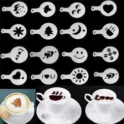 Round 16 Pcs Coffee Stencil