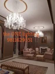 SS and Glass Home Crystal Hanging Chandeliers