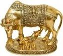 Gold Plated Kamdhenu Cow And Calf For Home Decoration & Corporate Gift