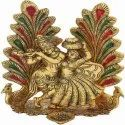 Gold Plated Radha Krishna Idol With Peacock For Home Decoration & Corporate Gift