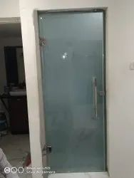 Saint Gobain Toughened Glass Frosted Bathroom Entrance Door, For Home, Thickness: 10mm