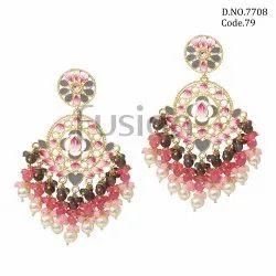 Fusion Arts Kundan Meenakari Chandbali Earrings
