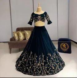 Dark Rama Semi Stitched Ank Enterprise Embroidered Velvet Designer Wedding Wear Lehengha Choli, 2.5 Mtr, 20-40