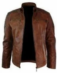 Stand Collar Men's Leather Jacket