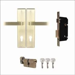 YMC501 Mortise Lock Comboset With Backplated Handle, Cylinder With Knob Inside, Antique Brass