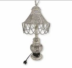 Metal Silver Plated Antique Table Lamp For Home Decoration & Corporate Gifts