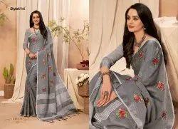 Kaavya Vol.3 Cotton Linen Floral Embroidered Butta Saree With Handmade Jhalar