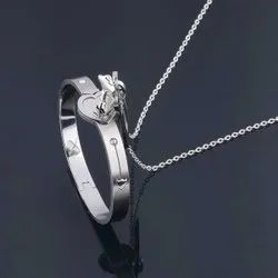 Silver Heart Lock And Key Stainless Steel Couple Bracelet & Necklace Set, Size: Free Size