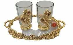 Gold Plated Metal Fiber Oval Shape Serving Tray With 2 Glasses For Home , Office , Occiesion