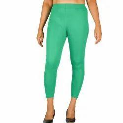Rib Plain Ladies Cotton Leggings, Size: Free Size