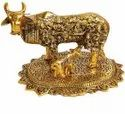 Metal Gold Plated Kamdhenu Cow With Gods For Decoration & Gifting Purpose