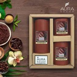 Auradecor Set Of 3 Fragrance Pillar Candles ( Chocolate )