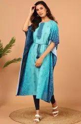 Janasya Women's Blue Poly Georgette Kaftan (J0355)