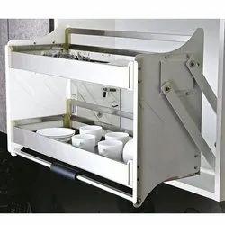 Slimline Modular Kitchen Satin Pull Down Unit, 600 Mm (Silver)