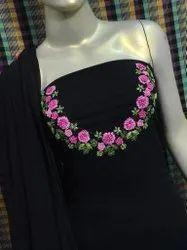 Black Georgette  Work Fancy Dress Material