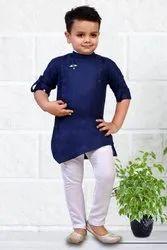 Navy Blue And White Cotton Lycra Kids Kurta Pyjama