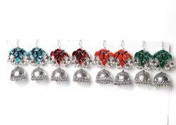 Blue Topaz, Coral, Green Onyx Gemstone Jhumka Earrings Jewelry