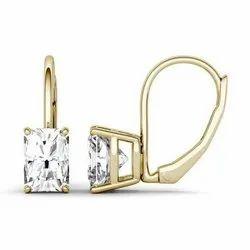 2.40 CTW Radiant Forever One Moissanite Leverback Earrings In 14K Yellow Gold