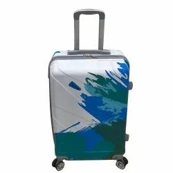 White,Blue and Green Polycarbonate White Printed Luggage Trolley Bag, Size: 20inch