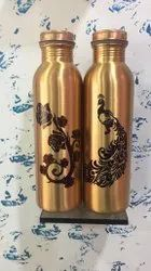 Peacock Printed Copper water Bottle
