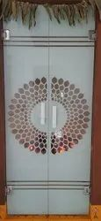 Hinged Printed Toughened Glass Door, Thickness: 10mm