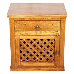 Brown Antique Wooden Bedside Table Teak Wood, For Home, Number Of Drawer: 1